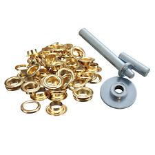50 x 12.5 mm Tenda tende da sole in oro Occhielli Occhiello Telone Calotta installare Repair Tool Kit