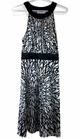 Portmans Womens Black/White Floral Sleeveless Silky Halter Neck Dress Size 8
