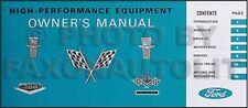 1964 1965 Mustang Fairlane 289 Hi Performance Owners Manual 4 bbl engine code K