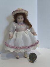 Vintage Elaine Scott Porcelain Ginger Little Girl Doll Dollhouse Miniature 1:12