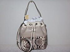 NWT Michael Kors 'Large Dottie' Embossed Leather Bucket Bag, Natural