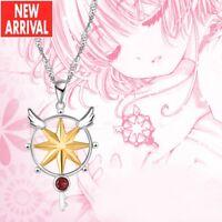 Anime Card Captor Sakura Kinomoto Magic Star Wand Key Silver 925Necklace Pendant