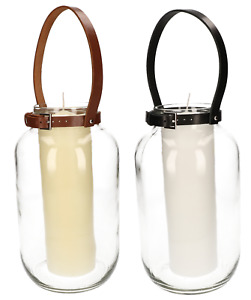 ABRATO Kerze im Glas 80x250mm mit Ledergriff Komplette Dekorative