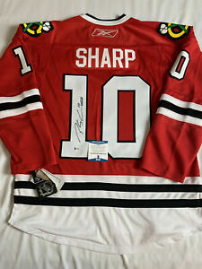 PATRICK SHARP SIGNED CHICAGO BLACKHAWKS REEBOK JERSEY BECKETT BAS COA T40282