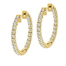 14K Yellow Gold Finish 2.50 ct Inside/Outside Round Diamond Hoop Earrings Gift