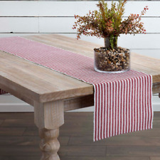 "HARMONY Red & White Stripe 13"" x 72"" Cotton Rib-Weave Table Runner"