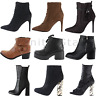 NEW LADIES WOMENS CHUNKY MID HIGH BLOCK HEEL CHELSEA ANKLE BOOTS SHOES SIZE 3-8
