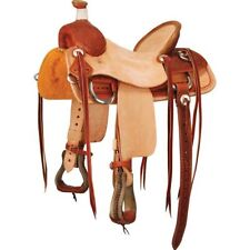 """Western Tan & Natural  Leather Hand Tooled Roping Ranch Saddle with Strings 15"""""""