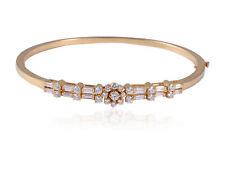 Classy 1.34 Cts Natural Diamond Hinged Bangle Bracelet In Fine Hallmark 18K Gold