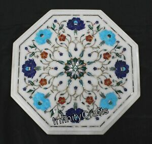 12 x 12 Inch White Coffee Table Top Marble sofa Side Table with Pietra Dura Art