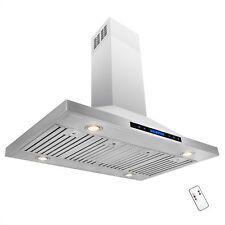 """48"""" Stainless Steel Island Mount Range Hood Touch Screen Display Remote Control"""
