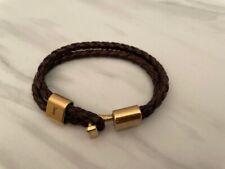 Double Braided Leather Bracelet Rare *~ ~* Auth. Ysl Yves Saint Laurent