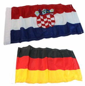 Flaggen Set Kroatien / Deutschland Fahne Bootsflagge Bootsfahne Flaggenstock