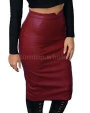 Fashion Women PU Leather High Waist Pencil Bodycon Midi Skirt Party Winter Dress