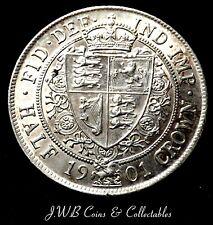 1901 la reine Victoria voile head silver half-crown coin Unc-Superbe pièce
