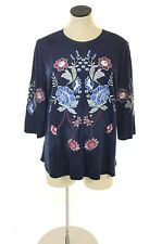 New Charter Club Womens Boho Blouse Top Sz M Blue Embroidered Suede Bell Sleeve