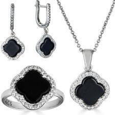 """Реальный 925 серебро Four Leaf Clover """"черный оникс кольцо, ожерелье и серьги дамы набор"""