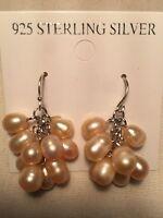 Vintage Handmade 925 Sterling Silver Genuine Pink Pearl Dangle Earrings