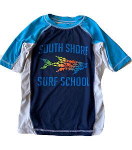 OP Ocean Pacific Rash Guard Boys 6 7 Surf Swim Shirt Blue Shark Kids Top