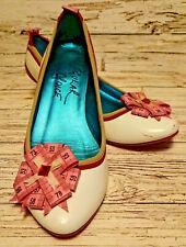 Irregular Choice White Leather/Tape Measure Kitten Heel Shoes. Size 5