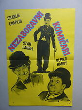 LAUREL - HARDY - CHAPLIN shorts (1930's/USA) ORIGINAL YUGOSLAVIAN MOVIE POSTER