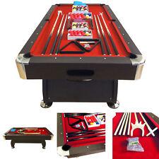 8' Feet Billiard Pool Table Snooker mod. Vintage Red 8 Full Set Accessories