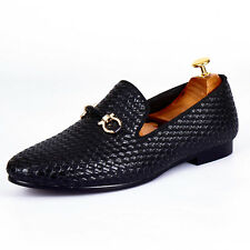 Harpelunde Black Buckle Loafers Woven Leather Men Slip On Shoes