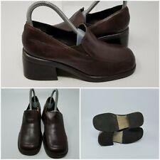 Diba USA Brown Leather Block Heel Square Toe Slip On Shoes Women Size 6.5