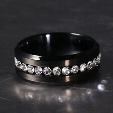 US SELLER SINGLE ROW Full Crystal BLACK Gem Engagement SIZE 8 Band THUMB Ring