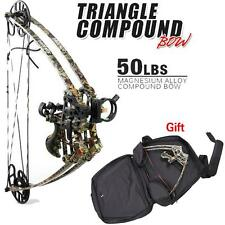 50# Triangle Compound Bow Archery Camo Right & Left Hunting Bow Case Kit Gift