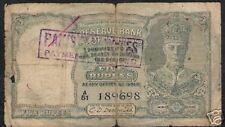 PAKISTAN 5 RUPEES P2 1947 KING GEORGE VI *PAYMENT REFUSED* RARE INDIA BANK NOTE