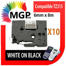 50x Laminated Label Tape for Brother Tz-315 Tze-315 White on Black 6mm X 8m