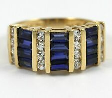Diamond and Sapphire ring set in 14k Yellow Gold