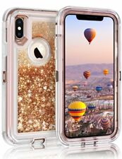 For iPhone XS Max Liquid Glitter Defender Case (Works with Otterbox Clip) Brown