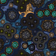 Fabri-Quilt Walkabout II Milky Way Navy 100% cotton Fabric by the yard