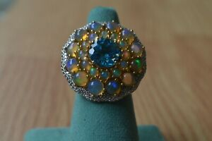 9.34ct Ethiopian Opal / Swiss Blue Topaz Ring 14K YG over Sterling Silver Size 7
