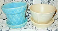 2 Vintage McCoy Flower Posts w/Saucers, Turquioise Quilted, Cream Swirl