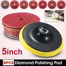 "8Pcs/SET Diamond Polishing Pads 5"" 125mm Wet Dry Granite Marble Concrete Stone"
