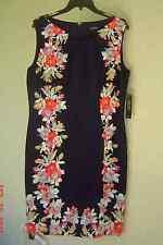 NWT TAHARI ASL NAVY FLORAL SHEATH CAREER DRESS SIZE 14 $134