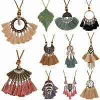 Women Boho Spiral Tassel Pendant Necklace Sweater Long Leather Jewelry Gifts NEW
