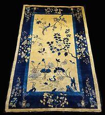 "1920s Chinese Blue & Gold Wool Pile Rug w. Auspicious Motifs 92""x 60"" (Sig)"