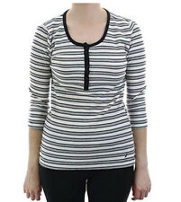 New Nautica Women's Striped Thermal Sleep Top, Black/Grey/White,Large