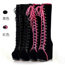 Fashion Womens Punk High Wedge Heel Platform Knee High Boots Lace Up Shoes Vogue