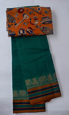 South Cotton pure handloom saree green with yellow border