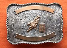 Vintage Sterling Silver Cowgirl Horse Rodeo Barrel Racer Western Belt Buckle