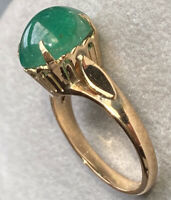 18K Yellow Gold Oval Emerald Sugarloaf Cabochon Pierced Vintage Ring Size 6.25