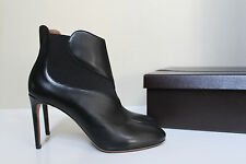 New sz 9.5 / 40 Azzedine Alaia Black Cut out Leather Ankle Bootie Heel Shoes