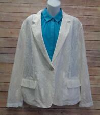 CHICOS Womens 3 White Eyelet Front Sheer Back Long Sleeve Jacket Blazer