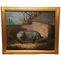 Victorian 19th Century English School Oil Painting Prized Grey Pig Sty Portrait