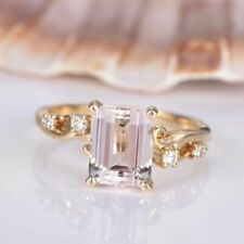 5.2ct Emerald Cut Peach Diamond Solitaire Engagement Ring 18k Yellow Gold Finish